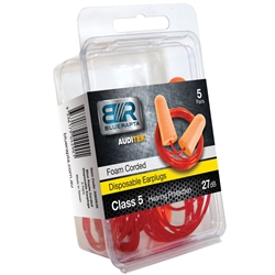 Blue Rapta Auditek 27dB CL5 Corded Earplugs (Pk 5pr)