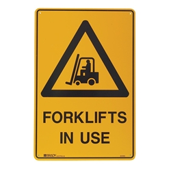 Warning Forklifts In Use Poly Sign 300x225mm