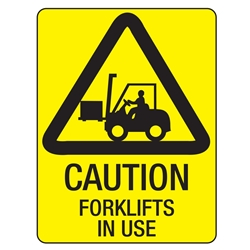 Warning Forklifts In Use Poly Sign 450x300mm