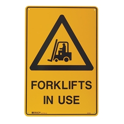 Warning Forklifts In Use Poly Sign 600x450mm