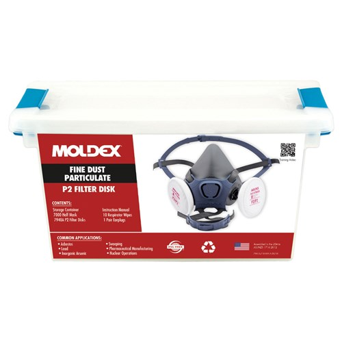 Moldex 70942A 7000 Series LARGE Fine Dust Particulate & Asbestos P2/P3 Respirator Kit