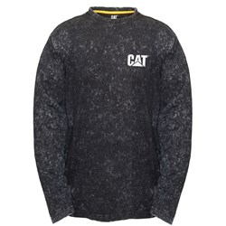 CAT® Workwear L/S Acid Wash Black Print Tee