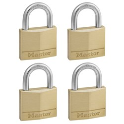 Master Lock® Diamond Brass 40x22mm Padlock (4pk) 140QAU