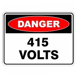 Uniform Safety Signs Danger 415 Volts 300x225 Poly Sign 214MP
