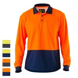 ELEVEN Workwear Spliced Hi-Vis Cotton Back L/S Polo Shirt