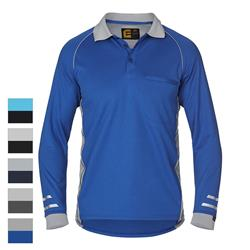 Polo L/S Aerocool with Mesh Black Blue Small